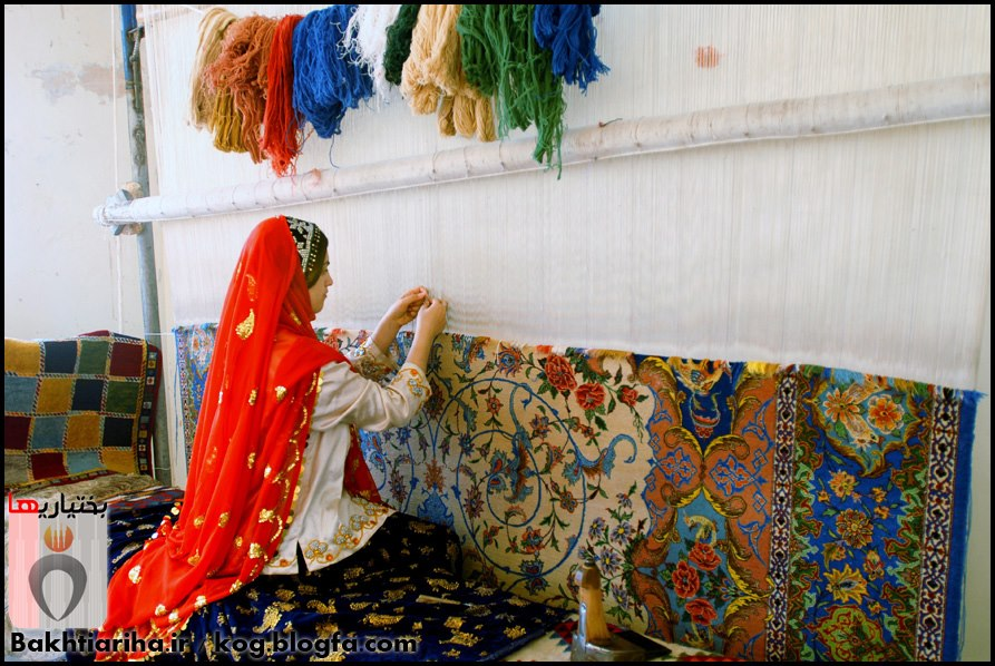 Bakhtiari Girl Weaving The Persian Rug